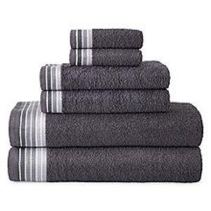 6pc. Grey border towel set